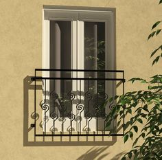 """The Ingleton balcony with simple, sharp design. A great """"Loft Look"""" balcony. Simple to install and at a great price too! Glass Juliet Balcony, Decoration, Bungalow, Balconies, Stairs, Iron, Exterior, Octopus, Outdoor Structures"""