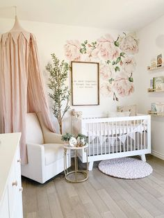 Boy Names Discover Autumn Roses Flower Decals Nursery Wall Decals Flower Wall Stickers Pink Girls Wall Decals Wall . Nursery Wall Decals, Baby Nursery Decor, Baby Bedroom, Baby Decor, Baby Nursery Ideas For Girl, Garden Nursery, Baby Girl Rooms, Simple Baby Nursery, Vintage Nursery Girl