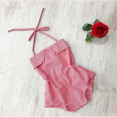 Stunning handmade red/white gingham romper, a one of a kind piece. The romper has elastic for a comfortable fit, snap buttons for easy access. Baby Girl Swimsuit, Baby Girl Romper, Baby Girl Gifts, Baby Girl Dresses, Baby Dress Patterns, Baby Clothes Patterns, Cute Baby Clothes, Girls Rompers, Rompers Women