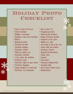 "A must-have ""Holiday Photo Checklist"" for those photographers who don't want to miss a thing!"