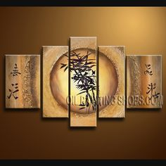 Large Contemporary Wall Art Hand-Painted Art Paintings For Living Room Abstract. This 5 panels canvas wall art is hand painted by A.Qiang, instock - $145. To see more, visit http://OilPaintingShops.com