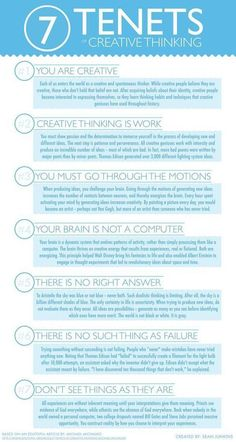 Interesting Poster Featuring The 7 Tenets of Creative Thinking [Infographic]