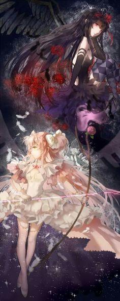 Madoka and Homura - Puella Magi Madoka Magica Manga Anime, Anime Guys, Madoka Magica, Doki, Sayaka Miki, Ange Demon, Beautiful Anime Girl, Anime Fantasy, Anime Art Girl