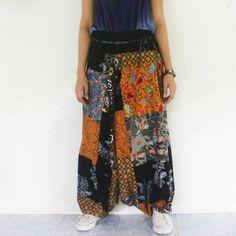 pathcwork Thai batik sarong harem pants handmade Thai batik sarong,yoga,spa,hippie, boho,bohemian, gypsy,jumpsuit,genie ,baggy trousers by meatballtheory on Etsy
