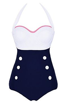 Cocoship White Retro Navy Two Tone Button Vintage Sailor One Piece Pin Up Swimwear Halter Swimsuit L(FBA) COCOSHIP http://www.amazon.com/dp/B00ZFDHF8M/ref=cm_sw_r_pi_dp_13R.vb0YJZ7DJ