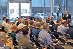 Guests listening to Henrik Fisker speak Henrik Fisker, Fields