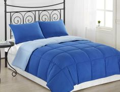 """2-Piece Reversible down Alternative Mini Comforter Set, with Anti-Microbial finish, Royal Blue/ Light Blue Bed Cover - KING Size Bedding by Cozy Beddings. $44.99. Care: Machine Washable. 100-Percent Hypo-allergenic, Allergy Free Poly Fiber. 1 Comforter KING 102"""" x 90"""". Polyester. 2 Pillow Sham 20"""" x 36"""". 100% polyester, 250 thread count. Color: Poppy Red/ Charcoal Grey (BRIGHT COLORS). Great choice for bed covers! Beautiful Bright Colors. For those of you who ..."""