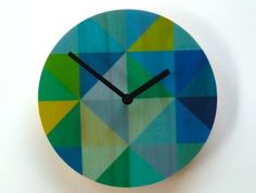 Objectify Grid Blue/Green Wall Clock