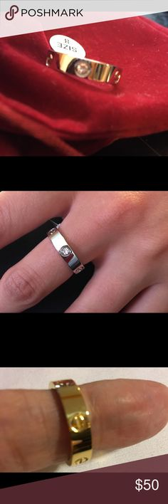 Love  ring  gold plated Love ring gold plated  with or without stones.  Gold silver rose gold.  Sizes. 6. 7. 8. 9. 10 Jewelry Rings