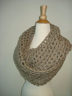 Funky Handmade Beige Crochet Infinity Scarf / Cowl by Belisse