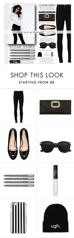 """I won't pick up the phone "" by itaylorswift13 ❤ liked on Polyvore featuring Frame Denim, Roger Vivier, Charlotte Olympia, NARS Cosmetics and MICHAEL Michael Kors"