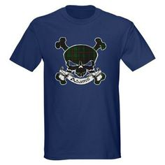 Clan Adams Tartan Skull has a skull and crossbones with a banner bearing the clan name. Show off your pride in your Scottish heritage with this cool tartan!