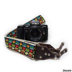 Rainbow Diamond Handmade Camera Strap w/ Leather,made by Feedback Straps