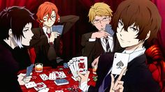 Bungo Stray Dogs Anime Characters Playing Cards Wallpaper