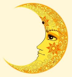 Henna 70s moon Zentangle, Yellow Moon, Soly Luna, Cresent Moon, Moon Face, Moon Illustration, Moon Design, Sun Art, Sun Moon Stars