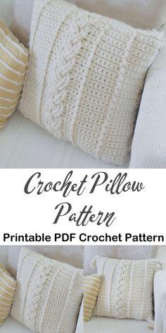 Make a Pillow – A More Crafty Life - Crochet Crochet Pillow Pattern, Crochet Cushions, Afghan Crochet Patterns, Knit Or Crochet, Crochet Stitches, Crochet Pillow Covers, Crotchet, Crochet Home Decor, Crochet Crafts