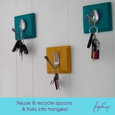 #Weekend fun task.. Take simple wooden blocks painted to your taste & fix a bent spoon or fork on it, you have the makings for a clever key hanger.