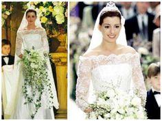 Vestido branco de renda para noivas usado por Anne Hathaway no filme Diário de uma princesa 2