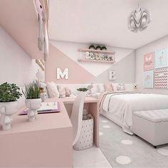 Small Room Design Bedroom, Pink Bedroom Decor, Bedroom Wall Designs, Bedroom Decor For Teen Girls, Home Room Design, Room Ideas Bedroom, Ikea Girls Bedroom, Light Pink Bedrooms, Small Girls Bedrooms
