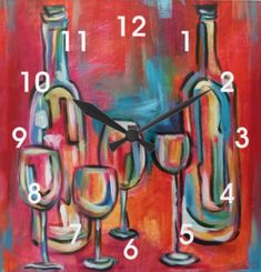 Shop Modern Wine Bottles and Glasses Painting Square Wall Clock created by winegreetings. Wine Bottle Glasses, Wine Bottles, Wine Art, Wine O Clock, Personalized Note Cards, Large Clock, Hand Coloring, Wall, Modern