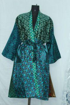Woman's Boho Bathrobe Jacket Dress Indian Patchwork Silk Sari Kimono Sk-1038 #Handmade #Kimono #AnyOccasionCasual