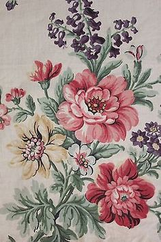 Vintage French PRINTED LINEN c1930 floral Large scale design RARE