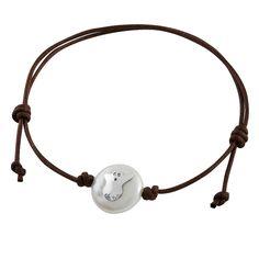 """Pulsera con perla Coin cultivada y placa de plata de ley """"No tengas miedo"""" (perla cultivada 12mm y cordón de algodón tintado de 2mm)"""