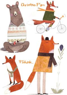 Christine Pym Foxes on bikes and Tiger Illustration, Character Illustration, Illustration For Children, Illustrations And Posters, Animal Illustrations, Cute Art, Sketches, Cartoon, Painting