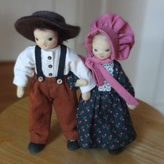 Pioneer dolls, Mother and Father, Ma and Pa, bendy dolls, dollhouse dolls Felt Boots, Felt Hat, Ingalls Family, Laura Ingalls Wilder, Mohair Yarn, Dollhouse Dolls, Mother And Father, Your Child, Super Cute