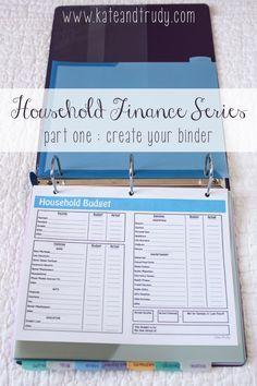 Household Finance Series on Kate & Trudy | www.kateandtrudy.com - bill binder, home finances, organization!