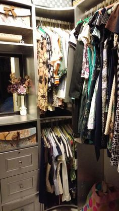 Small closet makeover with silver paint.