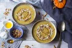 Pumpkin Soup with chestnuts and honey Deliciously autumnal pumpkin and chestnut soup topped with honey cream and roasted pumpkin seeds