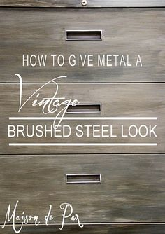 DIY:  How to Get a Vintage Brushed Steel Look with Paint - this is a budget-friendly project shows how 20 cabinets were given a facelift with paint - via Maisondepax.com