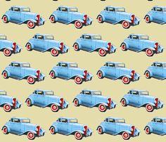 vintage car1 fabric by koalalady on Spoonflower - custom fabric