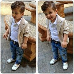 Toddler blazer jean outfit_ for this summer ( with a fashion hat)