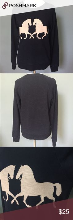J Crew horse sweatshirt size medium Very cute J Crew horse sweatshirt size medium. This navy colored long-sleeved sweatshirt has two horse images on the front in a beige color. Like new. Please let me know if you have any questions. J. Crew Tops Sweatshirts & Hoodies