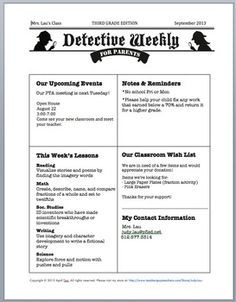 DETECTIVE THEME: PARENTS GUIDE, CALENDAR, NEWSLETTER (K-6) - TeachersPayTeachers.com