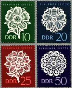 Plauener Spitze. Briefmarken. Laces. DDR stamp 1966