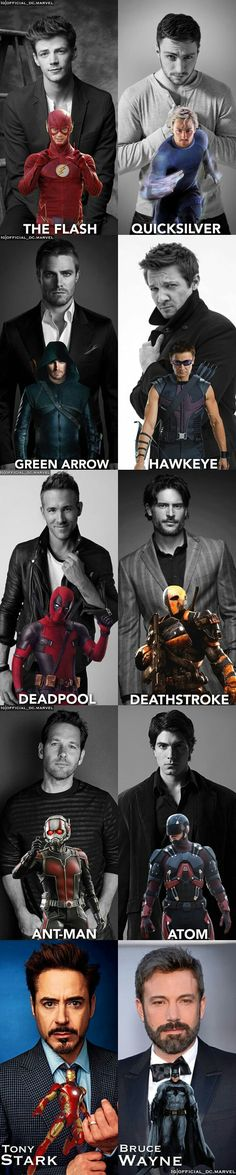 The flash, green arrow, deathstroke, atom, bruce wayne