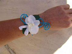 Bracelet turquoise et blanc - orchidée