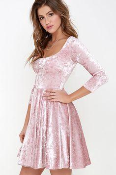 I Love You Amore Blush Pink Velvet Skater Dress