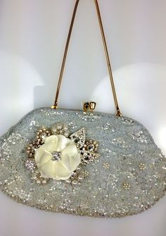 "$148 reworked vintage ""something blue"" bridal clutch"