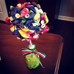 Tie dyed ballon party poof topiary  Rainbow ballet party decoration www.behindtheafter.blogspot.com