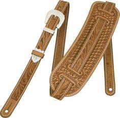 El DoradoVintage Hand-Tooled Leather Guitar StrapTan