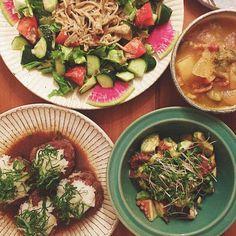 *和風ハンバーグ *アボガドとタコのガーリック醤油マリネ *きのこたっぷりサラダ *野菜たっぷりスープ #麻祐子飯 Pasta Salad, Ethnic Recipes, Food, Crab Pasta Salad, Essen, Meals, Yemek, Eten