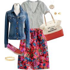 full skirt with denim jacket