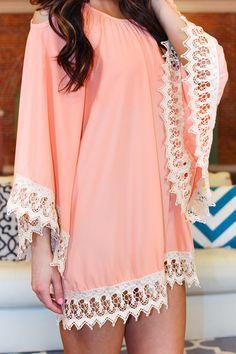 Peach Love Crochet Dress - $54.99 from UOIOnline.com - Oh la la! What a lovely crochet detailed dress. Featuring flowy fit, open shoulder, crochet hem and bell...