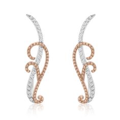 Rose Gold and Sterling Silver 1/5ct TDW Diamond Filigree Ear Climbers (I-J, I1-I2) - Free Shipping Today - Overstock.com - 18859380 - Mobile