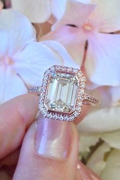 Eye-Catching Emerald Cut Engagement Rings ❤ See more: www.weddingforwar… Eye-Catching Emerald Cut Engagement Rings ❤ See more: www. Emerald Cut Engagement, Engagement Ring Cuts, Solitaire Engagement, Vintage Engagement Rings, Halo, Ring Verlobung, Wedding Planners, Or Rose, Rose Gold