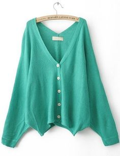 Green V Neck Batwing Sleeve Cardigan Sweater